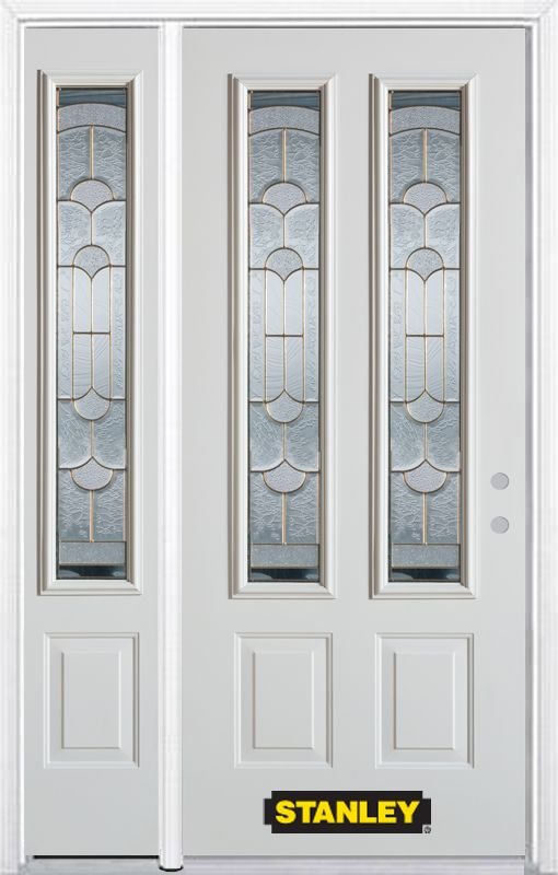 Stanley doors 52 in x 82 in 2 lite 2 panel pre finished for Exterior doors home depot canada