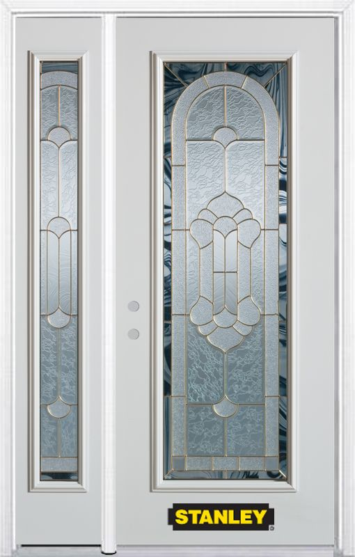 Stanley Doors 48.25 inch x 82.375 inch Radiance Brass Full Lite Prefinished White Right-Hand Inswing Steel Prehung Front Door with Sidelite and Brickmould
