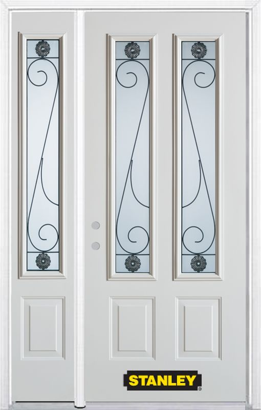 48-inch x 82-inch Blacksmith 2-Lite 2-Panel White Steel Entry Door with Sidelite and Brickmould