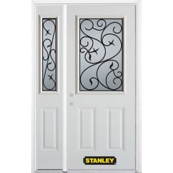 Stanley Doors 48.25 inch x 82.375 inch Borduas 1/2 Lite 2-Panel Prefinished White Right-Hand Inswing Steel Prehung Front Door with Sidelite and Brickmould