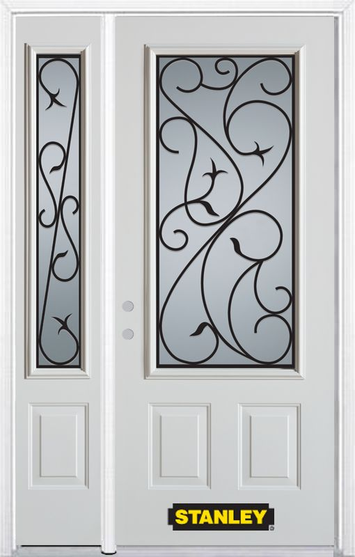 52-inch x 82-inch Borduas 3/4-Lite 2-Panel White Steel Entry Door with Sidelite and Brickmould