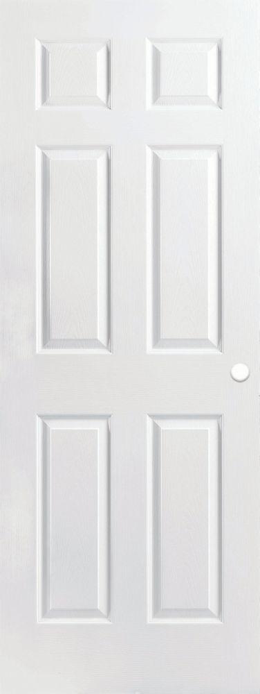 Masonite porte int rieure pr perc e 6 panneaux textur e for Porte 36 pouces