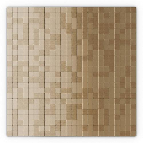 Tuile de mosaÏque auto-adhésive pour murs Sahara 11,5 po x 11,5 po x 5 mm, métal, cuivre pâle