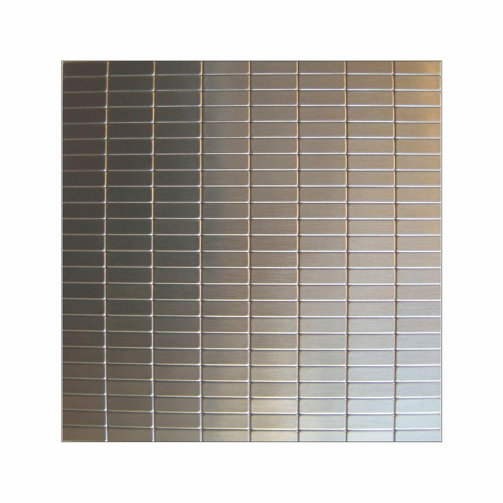 Inoxia speedtiles urbain mosaic self adhesive metal tile for Self stick backsplash tiles home depot