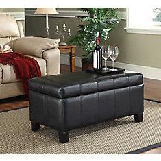 Bella 18-inch x 17-inch x 36-inch Faux Leather Ottoman in Black