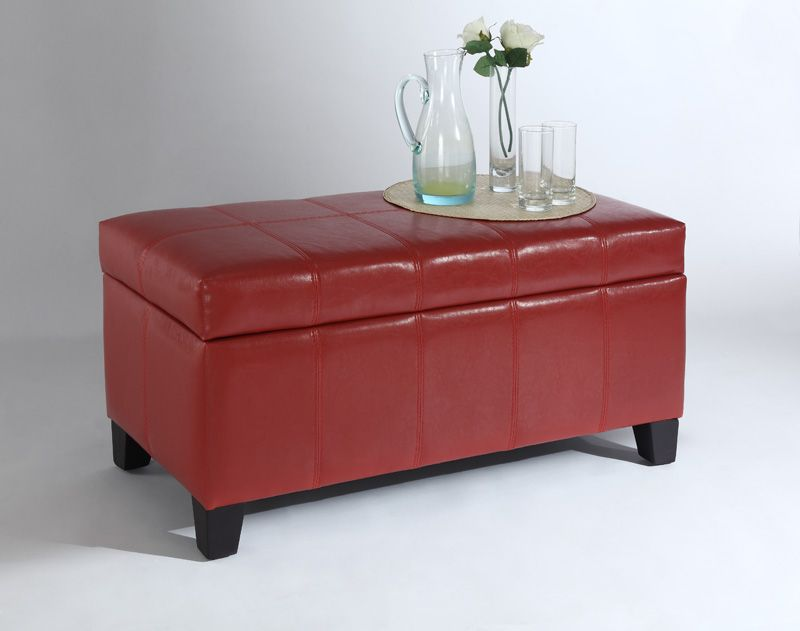 Worldwide Homefurnishings Inc Bella Storage Ottoman Red The