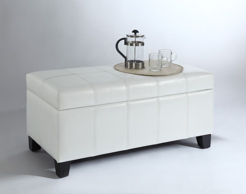 Bella Storage Ottoman - White
