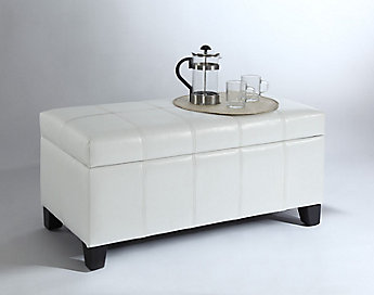 Worldwide Homefurnishings Inc Bella 18 Inch X 17 36 Faux Leather Ottoman In White The Home Depot Canada