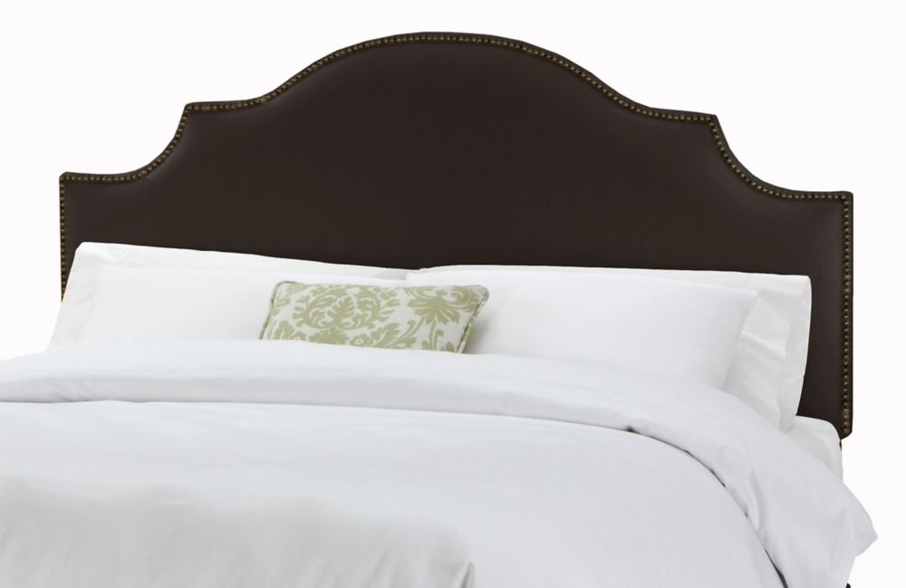 Full Nail Button Notched Headboard in Linen Black