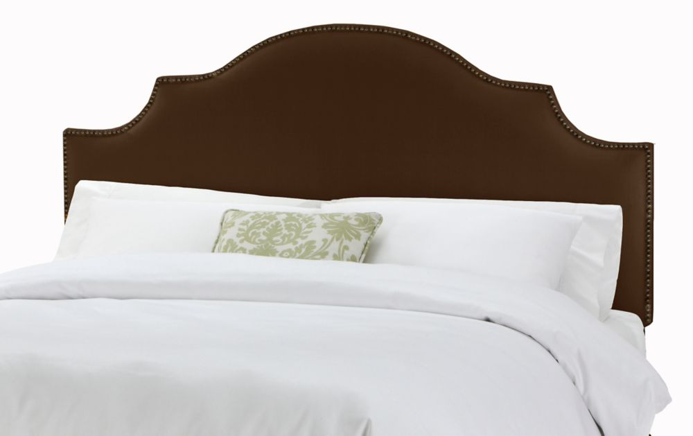 Queen Nail Button Notched Headboard in Linen Chocolate