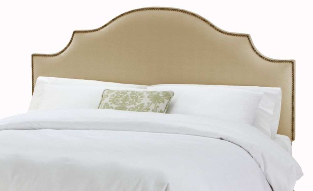 Queen Nail Button Notched Headboard in Linen Sandstone