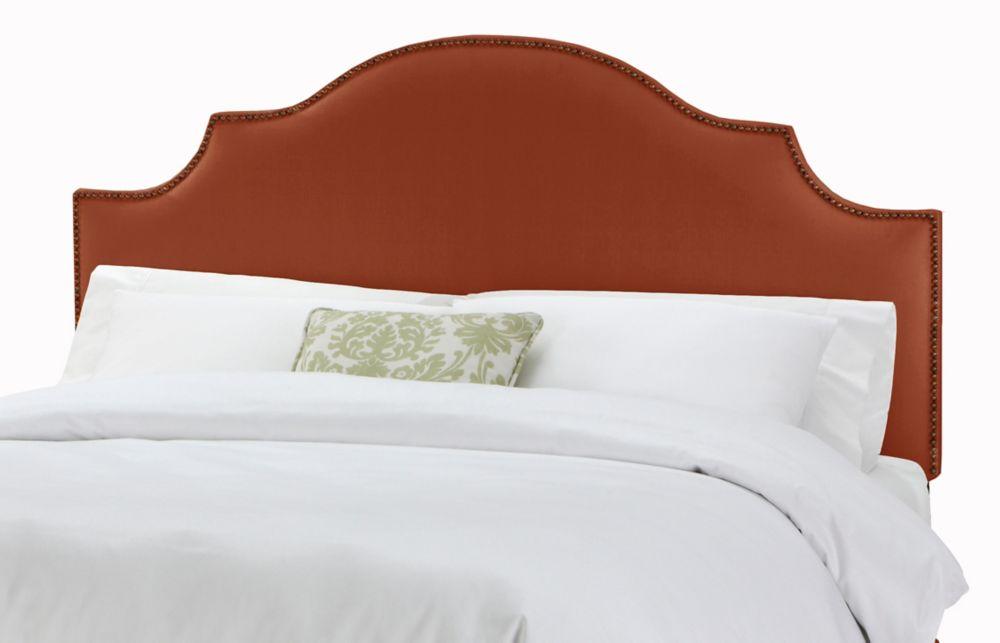 Tête de très grand lit California à encoches et têtes de clous en lin de ton Bittersweet