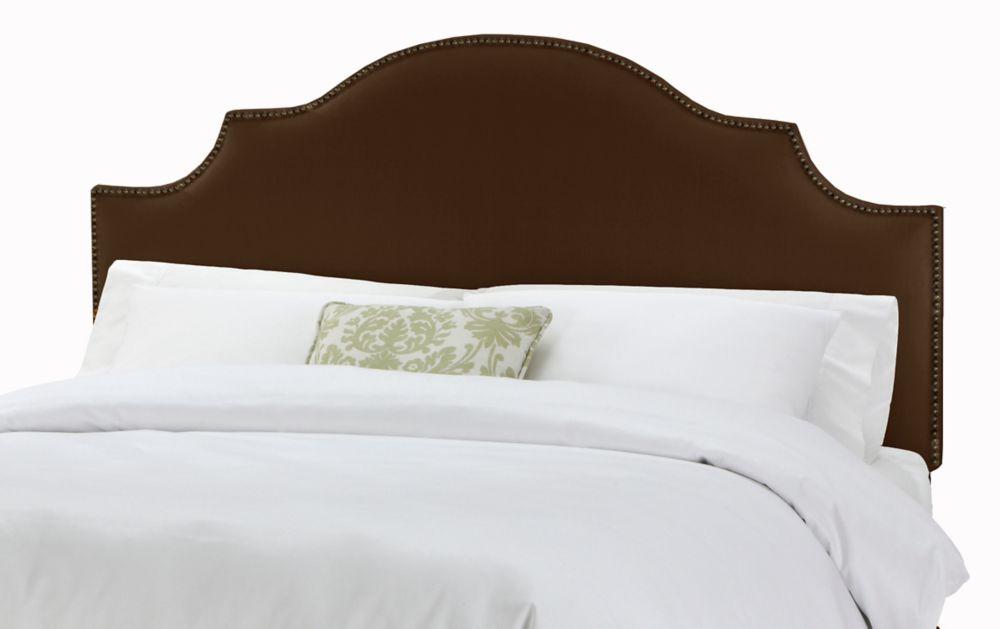 Tête de très grand lit California à encoches et têtes de clous en lin de ton chocolat