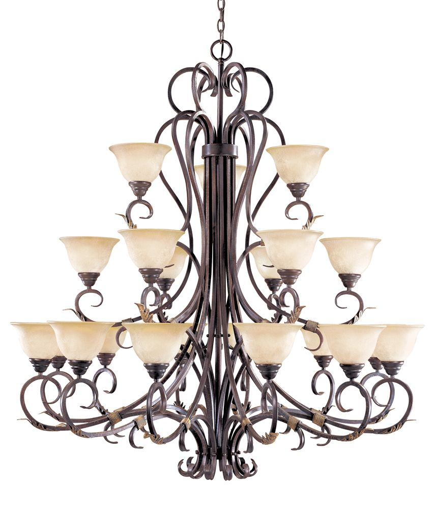 Olympus Tradition Collection 21-Light 120 in. Hanging Crackled Bronze with Silver Chandelier