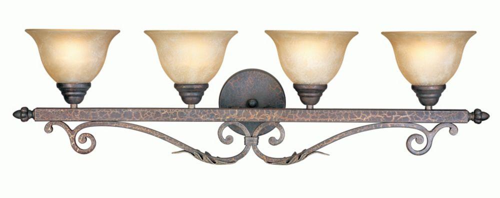 Luminaire de salle de bain à quatre lampes au fini bronze et argent craquelé de la Collection Oly...