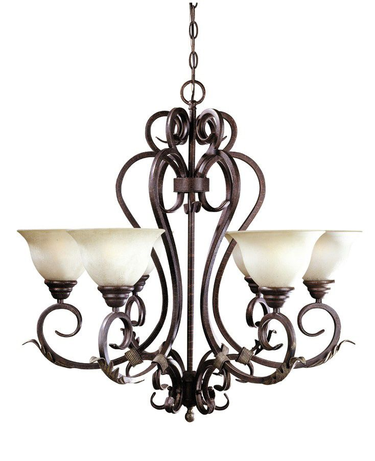 Olympus Tradition Collection 6-Light Chandelier in Crackled Bronze with Silver