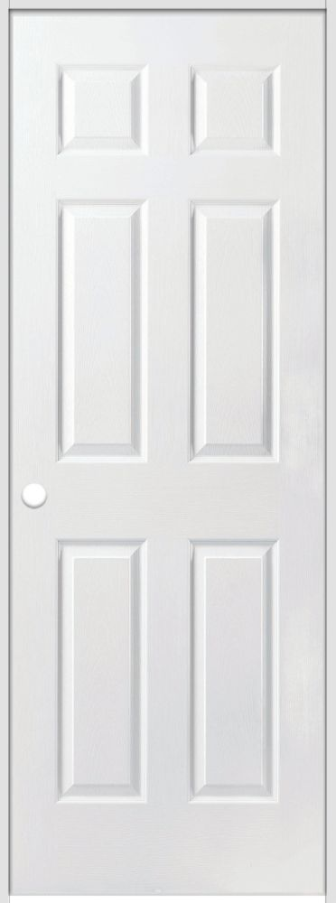 Primed 6-Panel Textured Safe N Sound Solid Core Prehung Door with Rabbeted Jamb 30 Inch x 80 Inch Right Hand