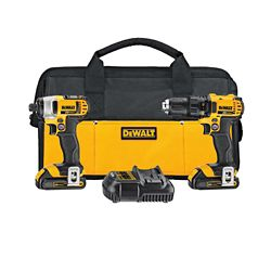 DEWALT 20V MAX Li-Ion Cordless Drill/Impact Combo Kit (2-Tool) w/ (2) Batteries 1.5Ah, Charger and Tool Bag