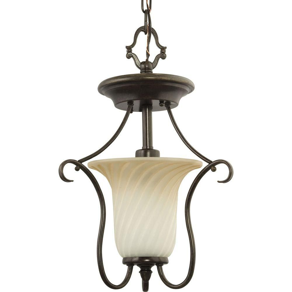 Kensington Collection Forged Bronze 1-light Semi-flushmount
