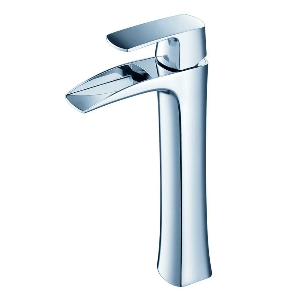 Fresca Fortore Single Hole 1-Handle Low Arc Waterfall-Flow Bathroom Faucet in Chrome with Lever Handle