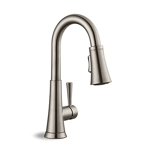 High Arc Bathroom Faucet in Brushed Nickel
