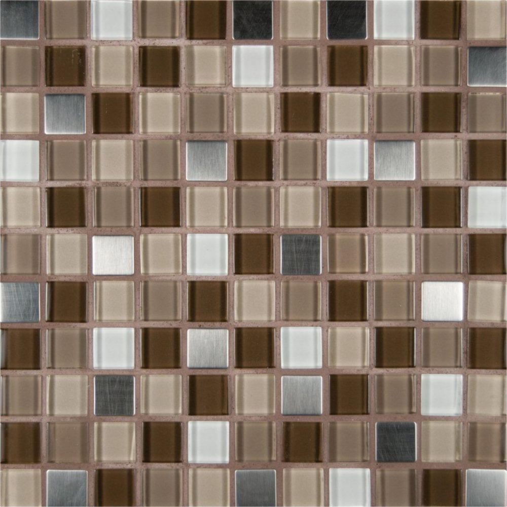1-inch x 1-inch Glass/Metal Mesh-Mounted Mosaic Blend Wall Tile in Escorial