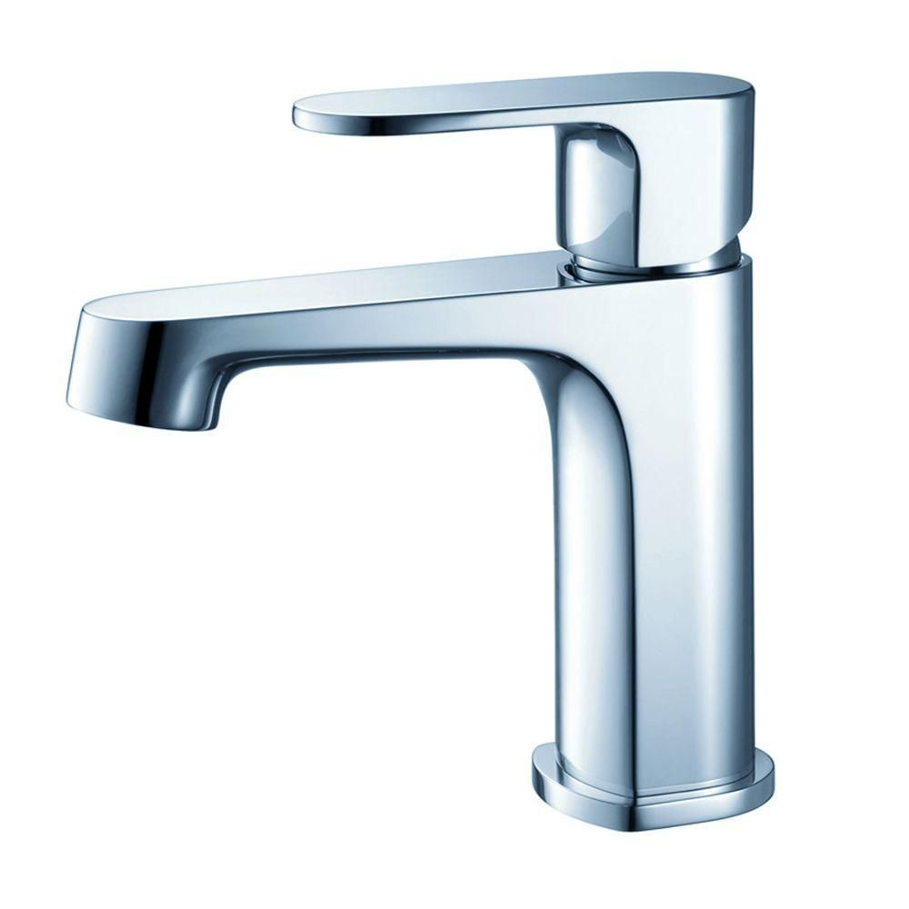 Fresca Gravina Single Hole 1-Handle Low Arc Bathroom Faucet in Chrome with Lever Handle