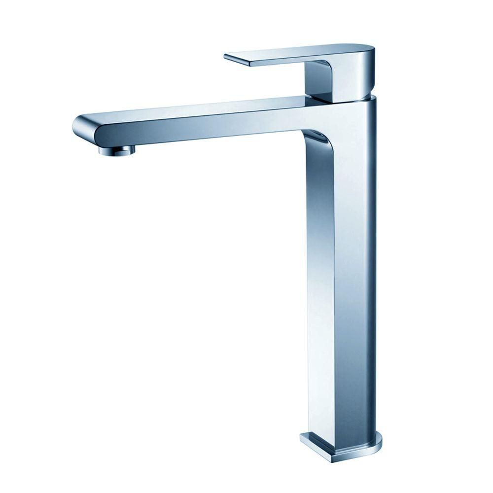 Allaro Single Hole Vessel Mount Bathroom Vanity Faucet in Chrome Finish