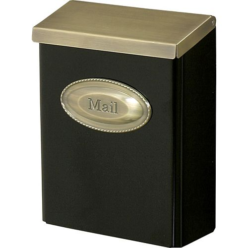 Gibraltar Industries Designer Wall-Mount Mailbox in Black with Brushed Brass Lid