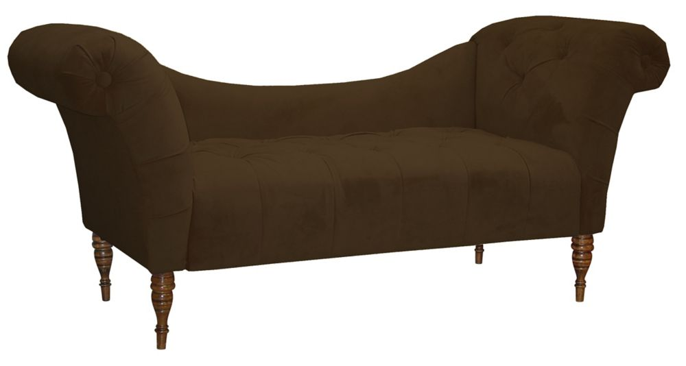 Tufted Chaise Lounge in Velvet Chocolate