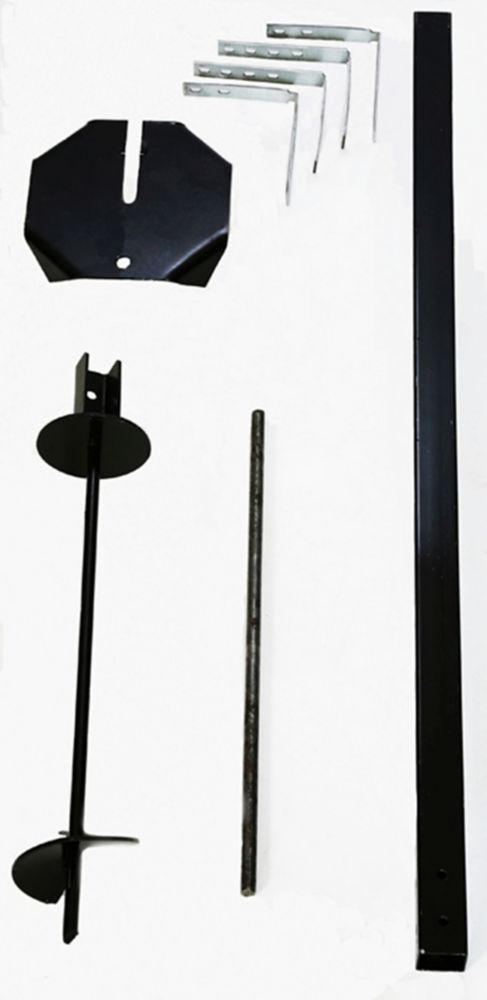 Black Auger Mailbox Post Kit