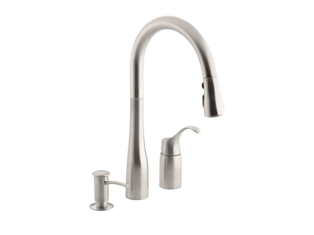 Triple Sink Faucet : KOHLER Simplice Three-hole kitchen sink faucet with 9 Inch pull-down ...