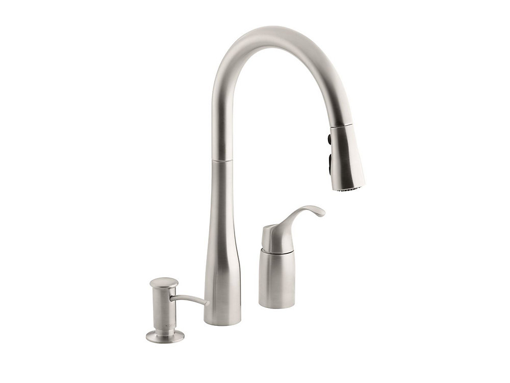 Kohler Simplice Three Hole Kitchen Sink Faucet With 9 Inch