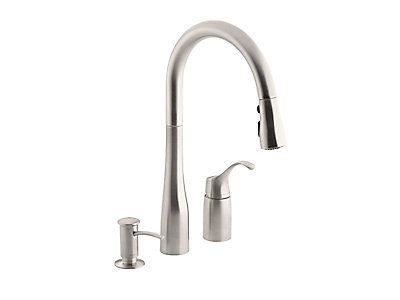 faucet sink faucets k down vs pull kohler kitchen simplice
