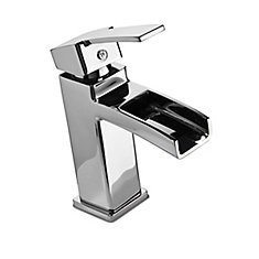 Kamato Single Hole 1-Handle High Arc Waterfall-Flow Bathroom Faucet in Chrome with Lever Handle