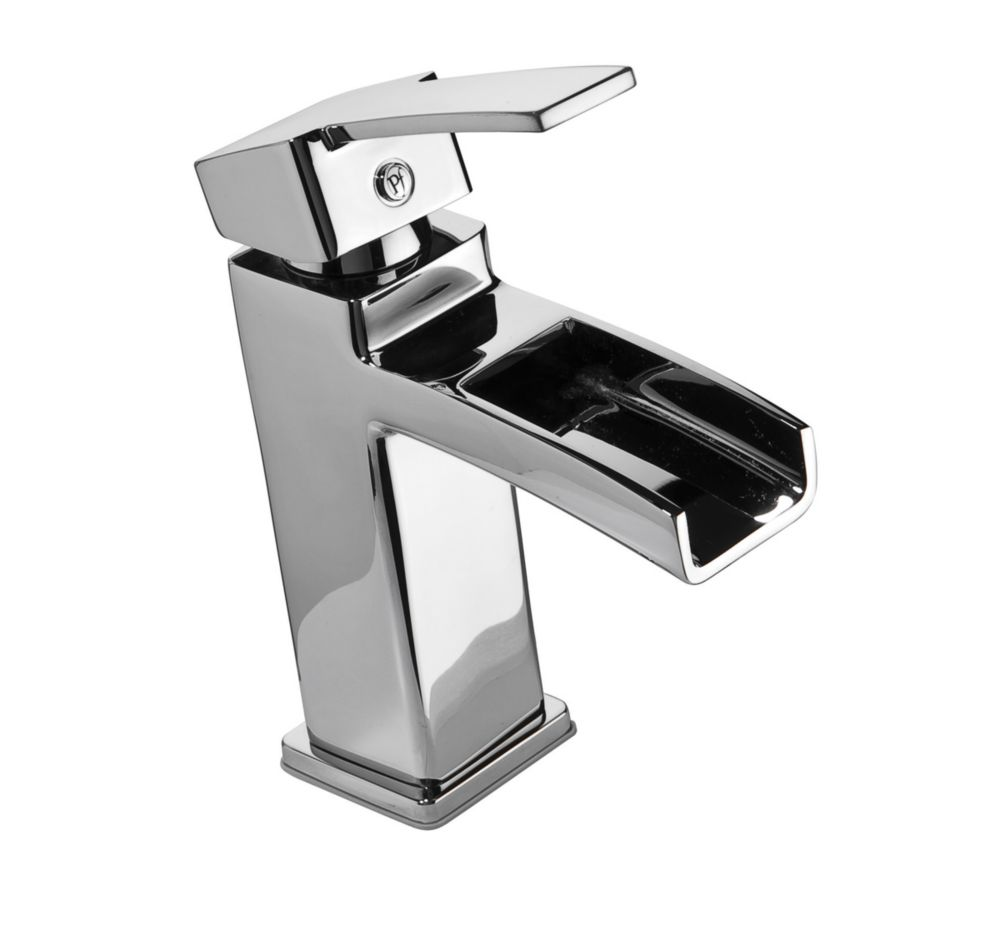 Kamato Single Hole 1 Handle High Arc Waterfall Flow Bathroom Faucet In  Chrome With