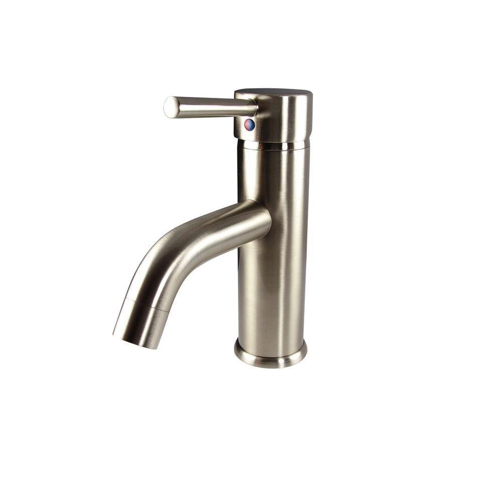 Robinet avec orifice unique pour meuble-lavabo Sillaro - Nickel brossé