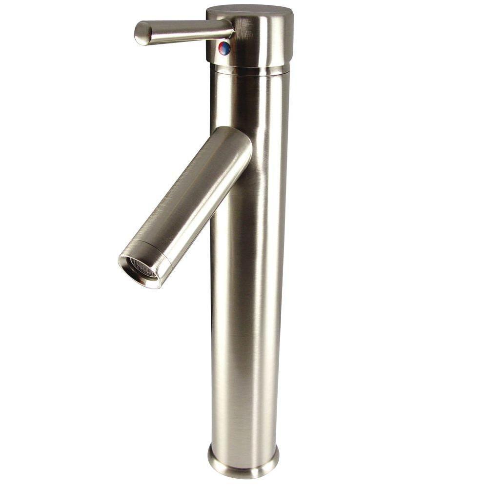 Robinet cascade avec orifice unique pour vasque lavabo pour meuble-lavabo Soana - Nickel brossé