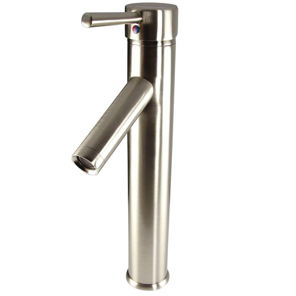Soana Single Hole Vessel Mount Bathroom Vanity Faucet in Brushed Nickel Finish