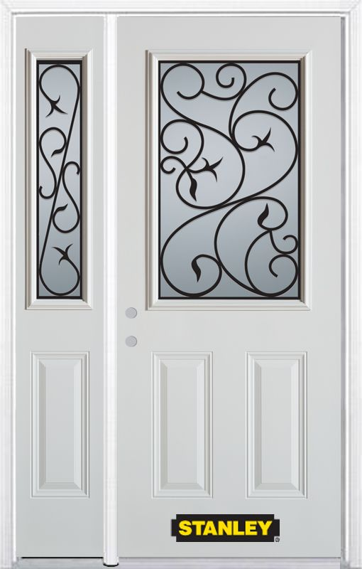 50-inch x 82-inch Borduas 1/2-Lite 2-Panel White Steel Entry Door with Sidelite and Brickmould
