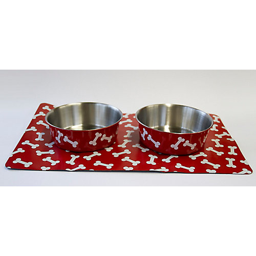 Stay Put Mat and Bowls - Small - Crimson Bones