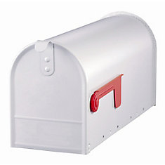 Elite 7-inch x 9-inch x 20-inch Curbside Mailbox in White