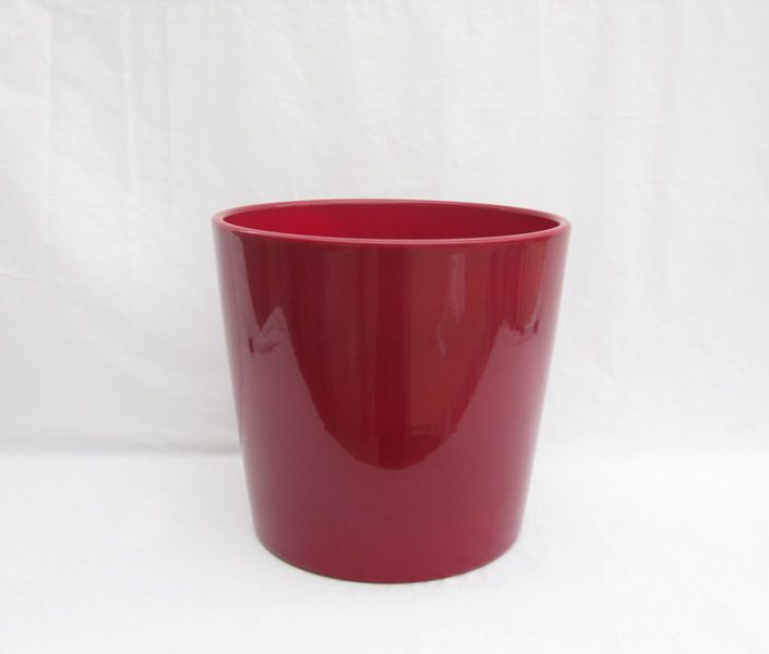 Ceramic Pot Round Red 12 Inch
