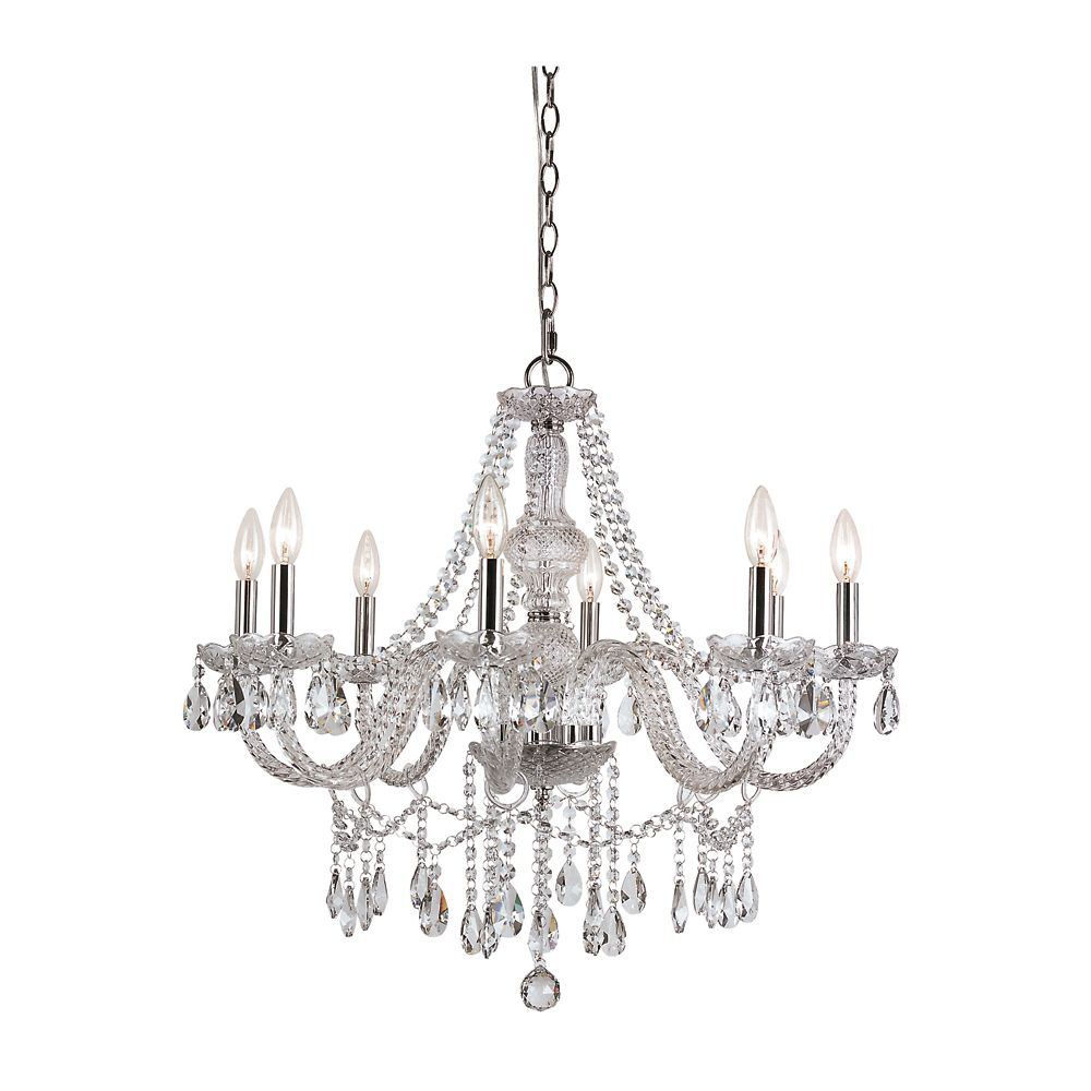 Braided Crystal 8 Light Chandelier