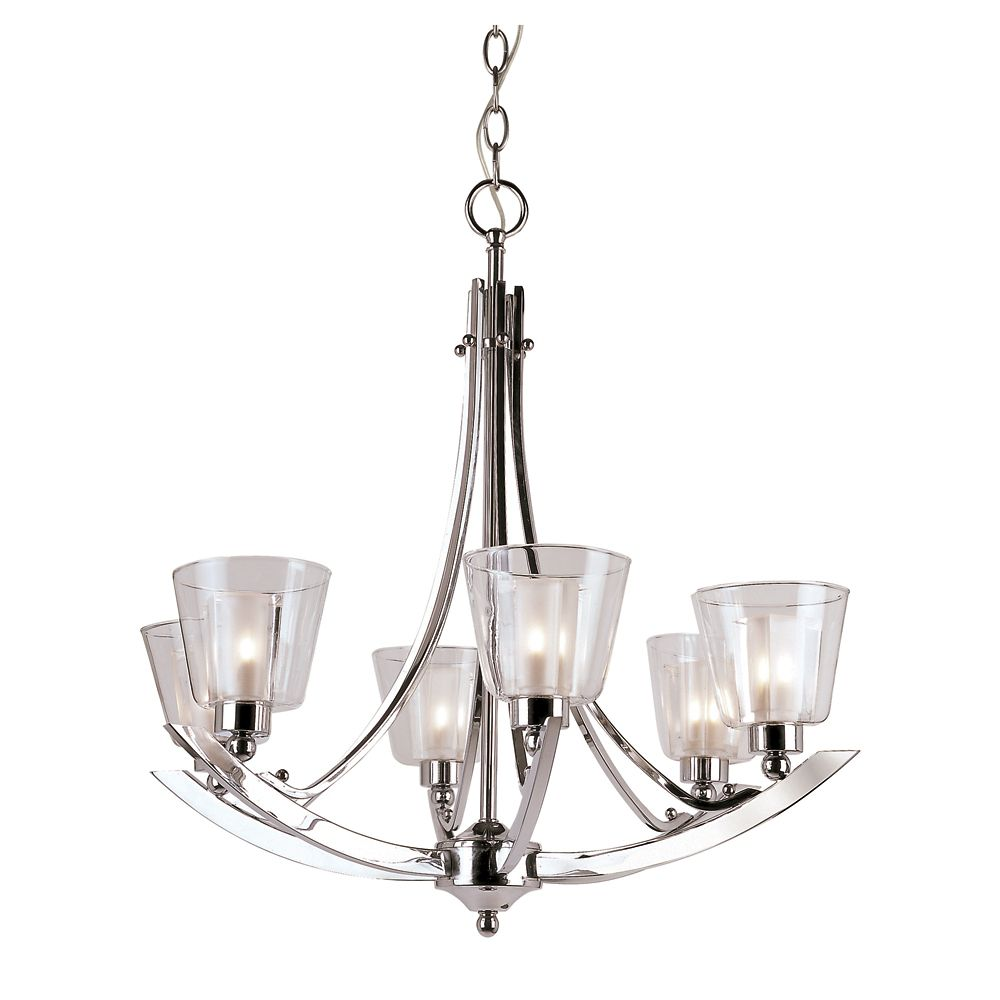 Double Votive Clear and Frosted 6 Light Chandelier
