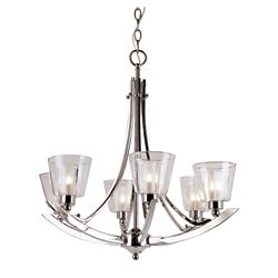 Bel Air Lighting Double Votive Clear and Frosted 6 Light Chandelier