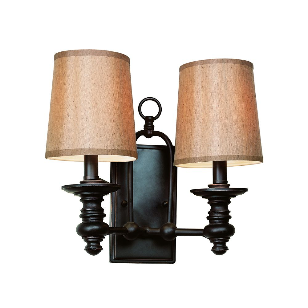 Oiled Bronze Linen Shade 2 Light Sconce