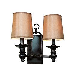 Bel Air Lighting Oiled Bronze Linen Shade 2 Light Sconce