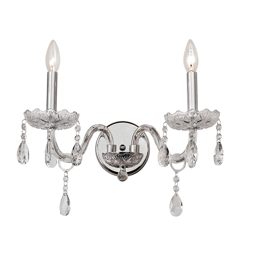 Crystal Flower Cut Double Sconce