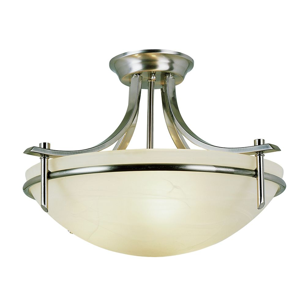 Bel Air Lighting Nickel Bolted Semi Flushmount